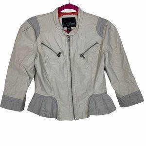 Daytrip Moto Peplum Faux Vegan Leather Jacket S